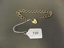 A Hallmarked 9ct gold padlock bracelet, 25g