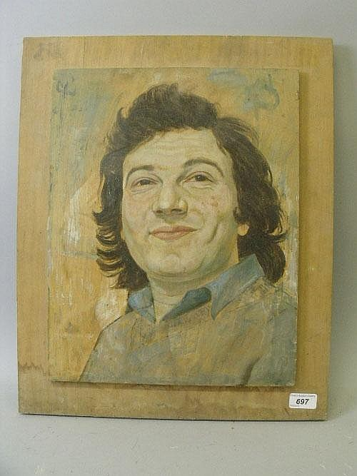 Alex Portner, oil on panel, portrait of a smiling