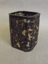 A Chinese faux tortoiseshell brush pot with carved and pierced dragon decoration, 3