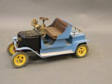 A scratch built working model of a steam driven vintage car with battery operated coach lamps, 14