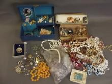 A box of costume jewellery etc
