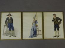 A collection of three watercolour costume designs, 11
