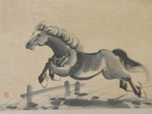 A Chinese monochrome watercolour of a horse taking a fence, bears seal mark, 17½
