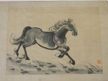 A Chinese monochrome watercolour of a prancing horse, bears seal mark, 17½