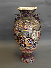 A large Japanese Satsuma polychrome enamel vase