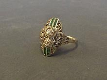 A 9ct gold Art Deco style emerald and diamond set