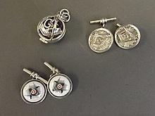 Two pairs of Masonic cufflinks and a Masonic
