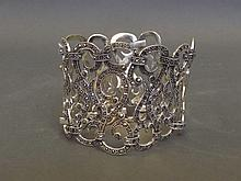 A heavy silver and marcasite bracelet