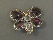 A 14ct gold rainbow tourmaline and diamond brooch