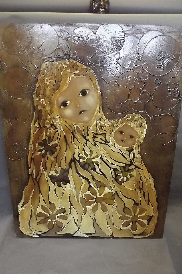 Richard Price, a large 1970s oil on board of a mother and child, 39'' x 30'