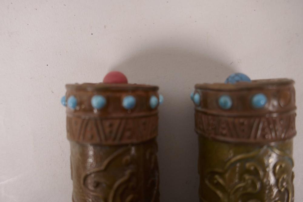 A pair of Tibetan Buddhist enamel metal prayer/incense