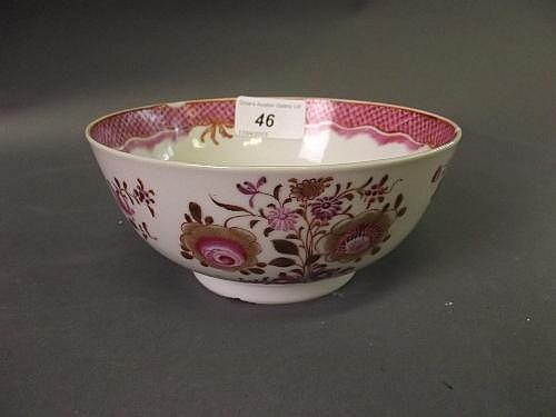 An C18th Chinese famille rose bowl painted with