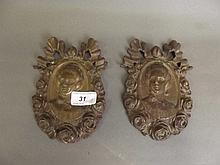 A pair of C19th bronze portrait mounts, 6½'' x