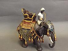 A cold painted bronze elephant and mahout, 9''