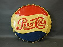 A large metal advertising sign for Pepsi-Cola in