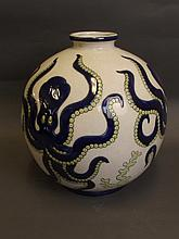 A large crackle glazed pottery globular vase with