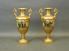 A pair of porcelain twin handled vases with bright