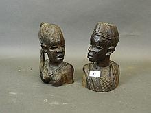 A pair of African carved hardwood bookend busts in