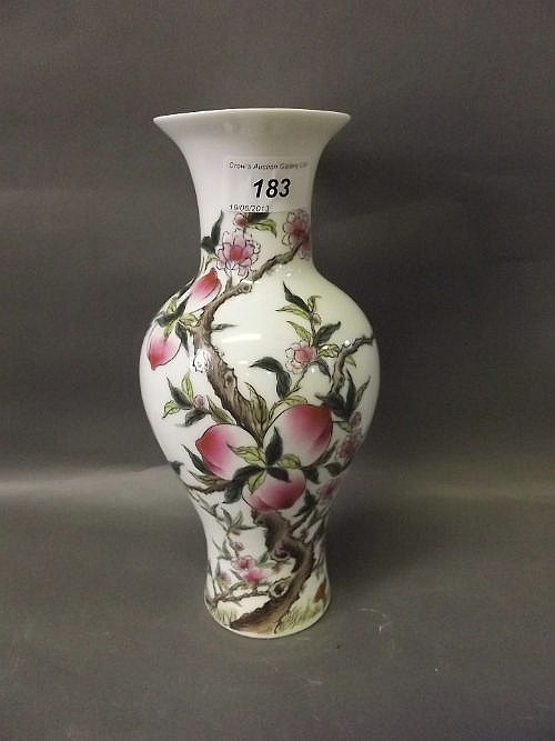 A C20th Chinese porcelain vase painted in enamels