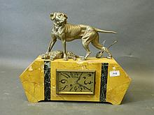 An Art Deco French marble mantle clock with