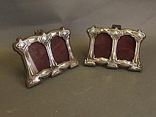 A pair of Sterling silver and enamel Art Nouveau
