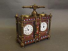 A double cloisonné carriage clock, 5'' x 5¼''