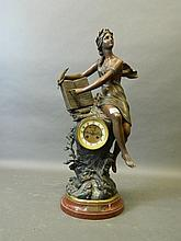 A late C19th French bronze spelter mantle clock,