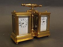 A double brass cased carriage clock, 4¾'' wide,