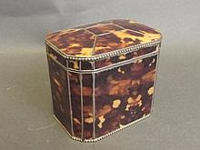 A C19th faux tortoiseshell and silver plated tea