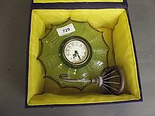 A coloured glass and brass umbrella clock, 7''