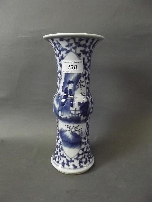 A Chinese blue and white pottery Gu shaped vase