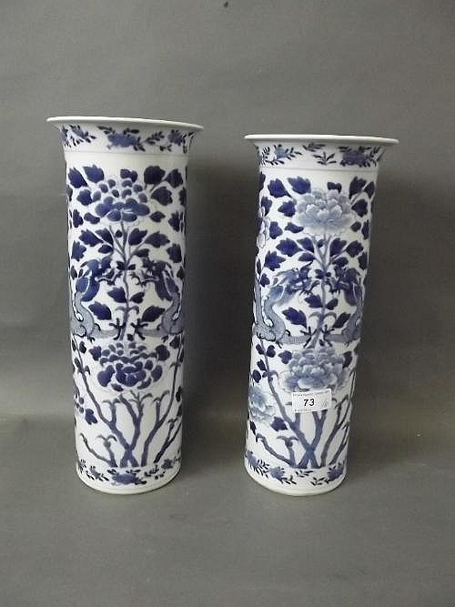 A pair of large C19th Chinese blue and white