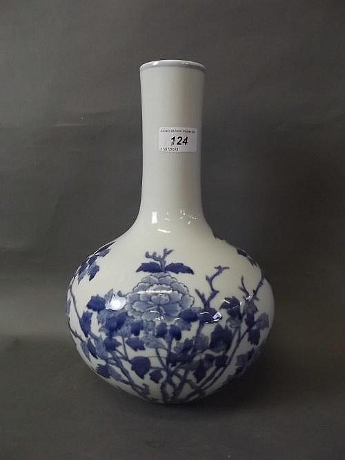 A large Chinese blue and white pottery vase