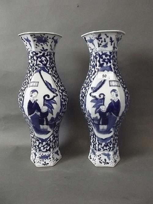 A pair of large Chinese blue and white hexagonal