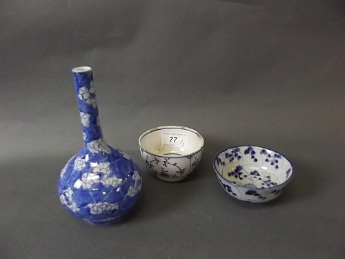 A C19th Chinese blue and white bottle vase, an