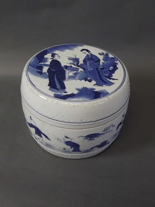A Chinese blue and white jar and cover with