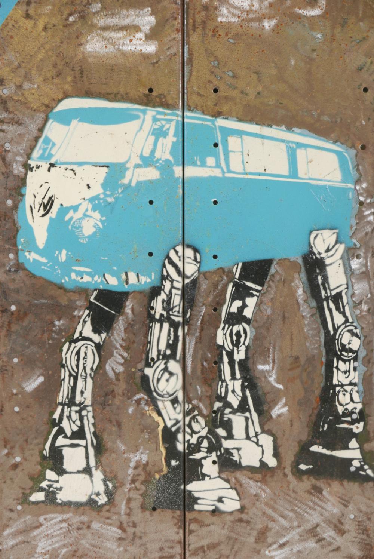 Lot A Spray Paint Stencil Artwork On Metal Of A Star Wars Atat Volkswagen Camper Van