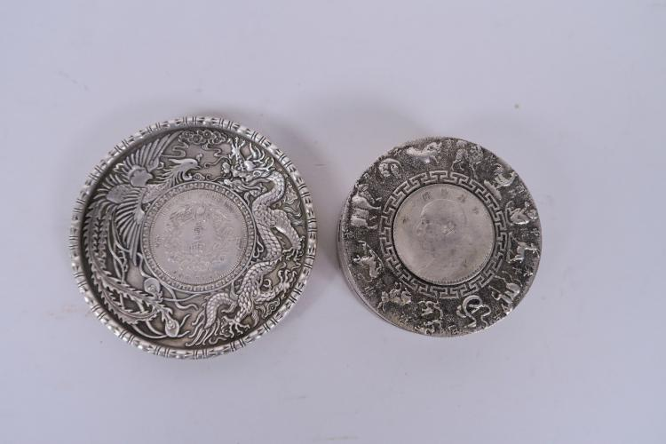 A Chinese White Metal Trinket Box With Zodiac Animal And
