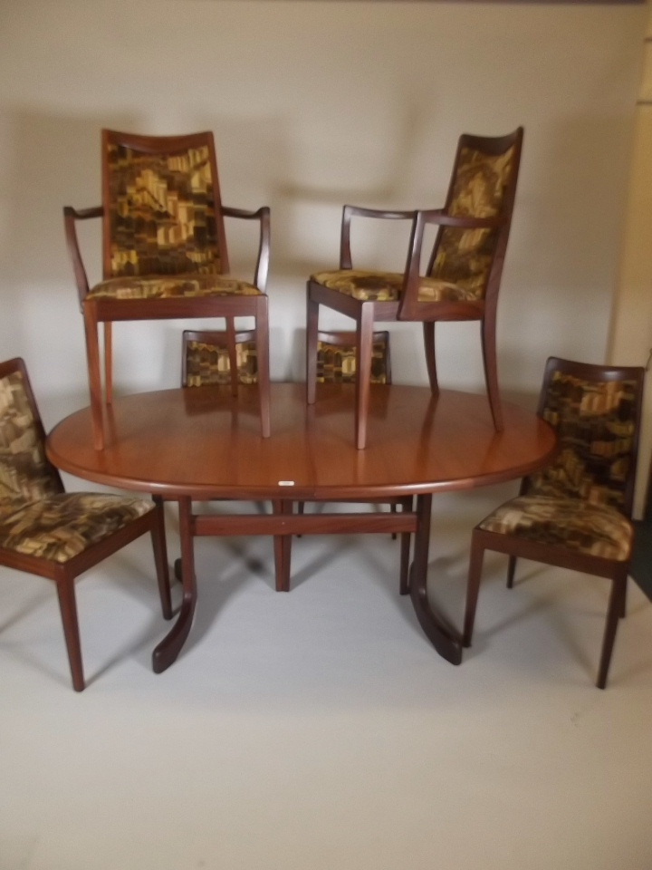 A g plan fresco teak extending dining table and six chairs for G plan dining room chairs