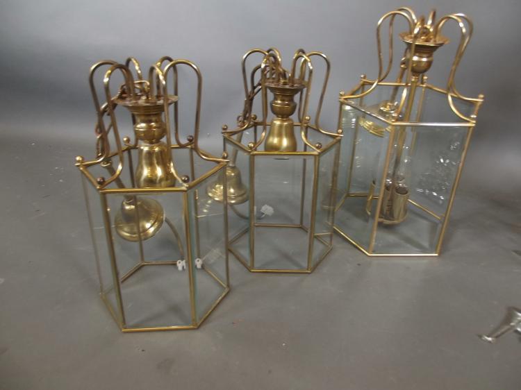 John Lewis Ceiling Lights Antique Brass : A pair of john lewis brass ceiling lanterns larger lanter