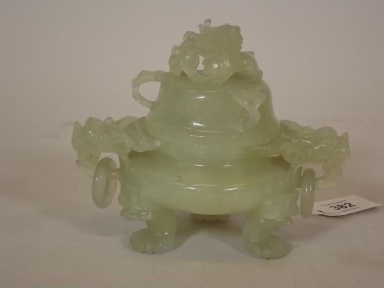 A Chinese Celadon Hardstone Koro And Cover With Dragon Mask