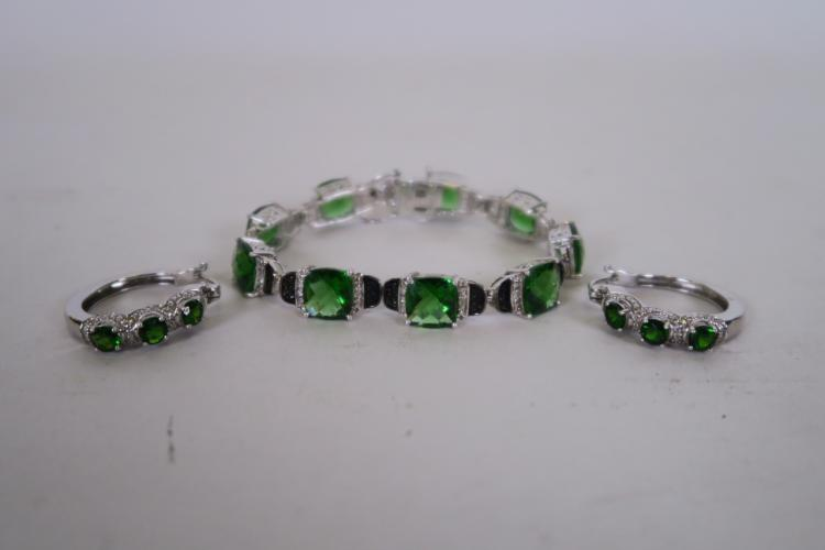 A Pair Of Silver Cubic Zirconia Marcasite And Green Gem St