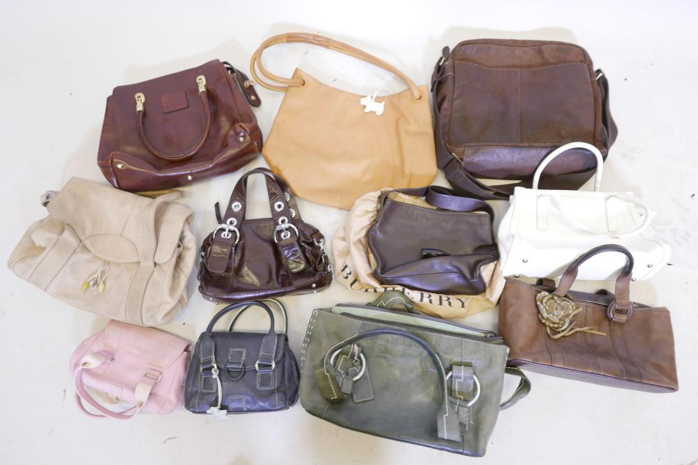 39147139e8a3 A COLLECTION OF ELEVEN LADIES LEATHER HANDBAGS, INCLUDING BURBERRY, SIX  RADLEY, VALENTINE ETC