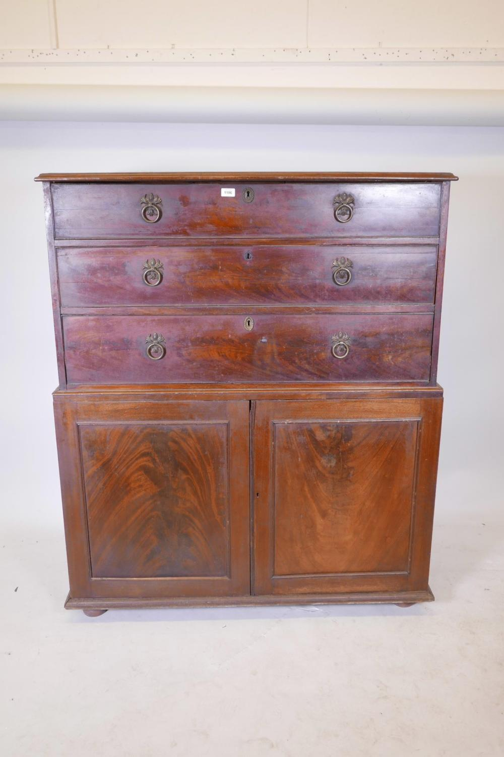 An early C19th mahogany press cupboard of three long drawers over two  doors, 47½ - Antique Cabinets For Sale At Online Auction Buy Rare Antique Cabinets