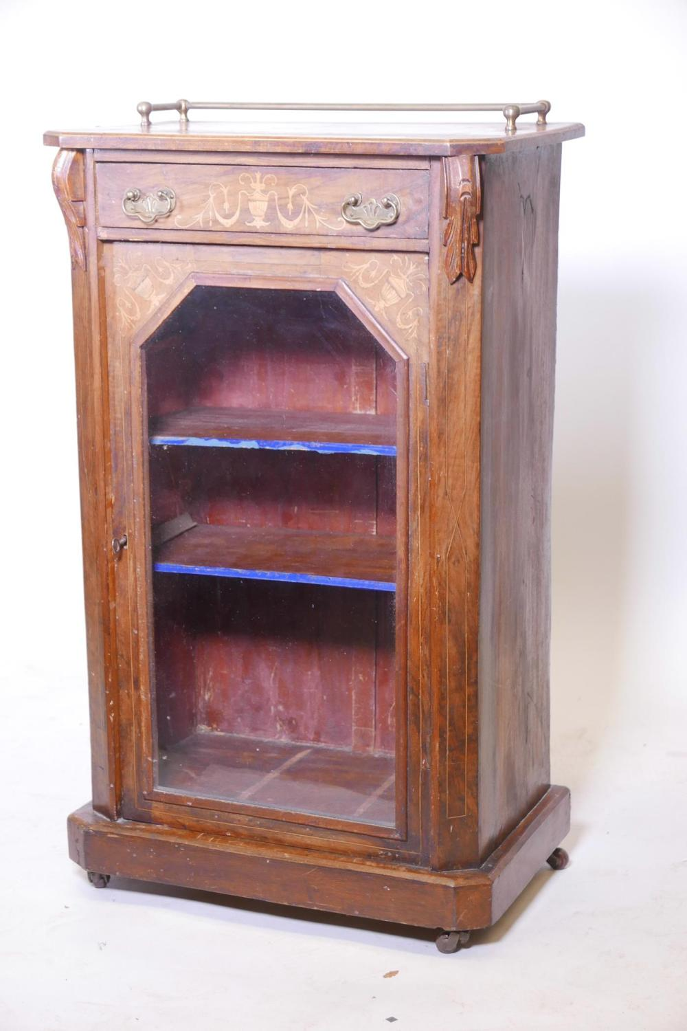 A C19th walnut music cabinet of small proportions with a three quarter  brass railed gallery, - Antique Cabinets For Sale At Online Auction Buy Rare Antique Cabinets