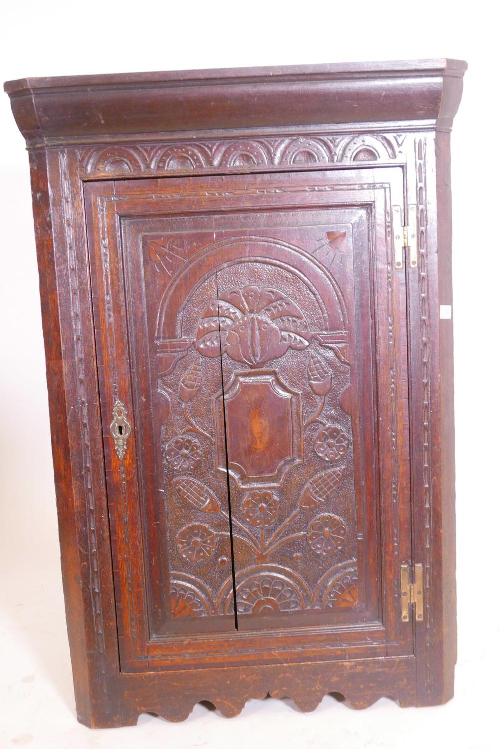 An C18th oak hanging corner cupboard with carved and inlaid decoration, 43 - Antique Cabinets For Sale At Online Auction Buy Rare Antique Cabinets