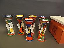 A set of six Wedgwood Limited Edition Clarice Cliff Yoyo pottery vases, all in original boxes, 9'' high