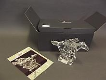 A Wedgwood crystal sculpture 'The Racehorse & Jockey', with original box, 6'' high