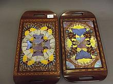 A pair of Brazilian butterfly wing trays with inlaid decoration, 16½'' x 9''