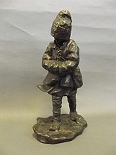 R.P. Hette, a bronze figure of a child wrapped